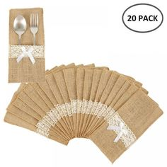 Burlap Lace Cutlery Pouch Rustic Wedding Tableware Decoration ❤️ Pin it please on your board Burlap Lace, Hessian, Diy Party Decorations, Decoration Table, Lace Decor, Wedding Vendors, Decorative Accessories, Wedding Centerpieces, Rustic Wedding