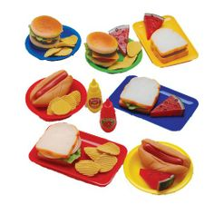 Lunch-Time Favorites - Realistic Sort Vinyl Pretend Food for Sandwiches and Sides Pretend Play Kitchen, Play Kitchen Sets, Pretend Food, Festa Hot Wheels, Sandwiches, Play Food Set, Bad Barbie, Pots And Pans Sets, 49er