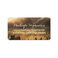 Rustic country scene wedding label