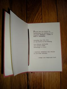 Book Themed Wedding Invitations sample by theBirdandtheBeard