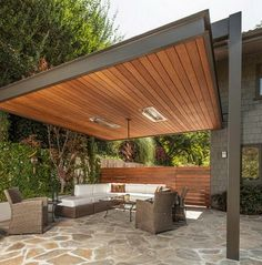 Contemporary patio constructed from steel and timber. http://www.easydiy.co.za: