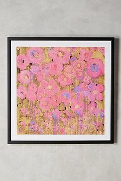 Pink and Gold Floral Art from Anthropologie - Roses Wall Art