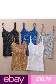 26d619c8e3 Women Sequin Vest Bling Spaghetti Strap Singlet Glitter Slim Camisole Tank  Top
