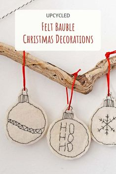 The childlike monochrome look of these upcycle handmade felt Christmas ornaments makes them look fun and unique. They are so simple to make. #felt #christmasornaments #bauble