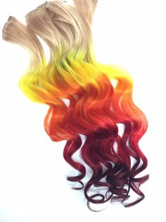 Burning Man Fire Ombre Hair extensions clip in by Cloud9Jewels