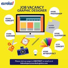 Job vacancy Graphic Designer. Please visit our page in Jobstreet or email us at Itdevelopers@eurekalogistics.com.  #job #jobvacancy #eureka #webdeveloper #webprogrammer #programmer #hdr_beautiful_landscapes #vscocamphotos #eurekalogistics #eurekaquotes #eurekabookhouse #jobstreet #life #jobsite #jakarta #logistik #informationtechnology