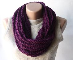 Purple scarf - infinity chain crochet -  plum eggplant christmas winter accessories spring fashion. $20.00, via Etsy.