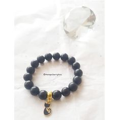 **New listing** Who is destined to claim this cute black cat charm bracelet? Made with protective matte black onyx gemstone beads. £12.00