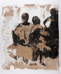 Armand Boua Untitled  2013  Tar and acrylic on cardboard  82 x 95 cm