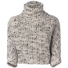 Brunello Cucinelli high neck cropped sweater ($2,555) ❤ liked on Polyvore featuring tops, sweaters, beige top, brunello cucinelli sweaters, beige sweater, high neckline crop top and cut-out crop tops