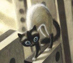 """Benjamin Lacombe ilustra """"Retratos gatunos"""", de Sébastien Perez. Edelvives incluye este álbum de poemas ilustrado entre sus novedades para el otoño de 2015."""