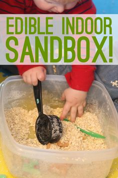 A quick busy activity for young kids - an indoor sandbox.  Edible for babies and toddlers too.