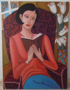 """""""LA LECTURA"""" Óleo sobre lienzo. Tamaño 60x80 cm. Precio 400 euros. Vendida"""