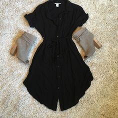 H&M Mama (maternity) black dress Excellent condition only worn once this is a lightweight button up dress that looks great with heels or with tights underneath. Collar neckline with wrap belt.   Clean just needs to be ironed H&M Dresses