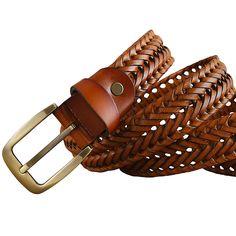 2016 Nueva Trenzada Cinturón de Hombre de Moda Para Hombre cinturones de  lujo de cuero genuino 317dc13658ea