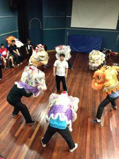 Practicing lion expression at Leon's lion dance seminar