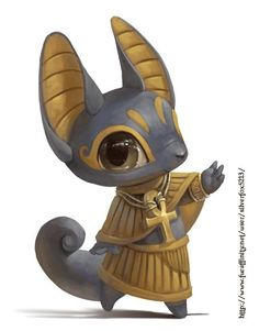 Egyptian God Thoth <Noooo, Thoth has the head of a crane-thingy. This looks like Anubis Cute Creatures, Fantasy Creatures, Mythical Creatures, Character Concept, Character Art, Concept Art, Chibi, Illustration Art, Illustrations