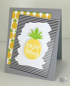 Card by Erin Lee Schreiner. Reverse Confetti stamp set and coordinating Confetti Cuts; Pineapples Aplenty. Quick Card Panels: Piña Colada