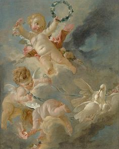 Amors in the Clouds. Amours dans les nuages Artist: Boucher, Francois (French 1703-1770)