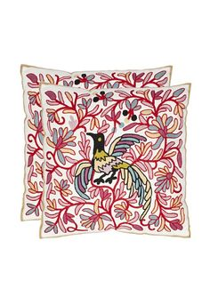 Safavieh Pillow Collection Avian 18-Inch Cream and Red Embroidered Decorative Pillows, Set of 2 at MYHABIT
