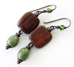 Olive Green Brown Copper Earrings Ceramic Oval by dreambelledesign