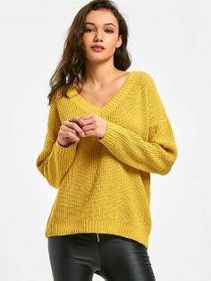 Oversized V Neck Pullover Sweater - Yellow