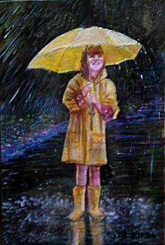 20x30  olio  su  tela pioggia  e  felicità