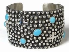 Beautiful wide silver cuff bracelet with crosses and Sleeping Beauty turquoise from Southwest Silver Gallery