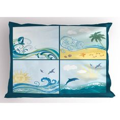 Beach Pillow Sham Maritime Themed Frames with Waves Sun Trees Dolphins Birds Exotic Sea Pattern, Decorative Standard King Size Printed Pillowcase, 36 X 20 Inches, Blue Beige Green, by Ambesonne Pillow Shams, Pillow Covers, Themed Weddings, Personalized Products, Beach Themes, Home Textile, Queen Size, King Size, Dolphins