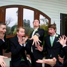 The ultimate groomsmen shot to share with your #wedding photographer. So funny!