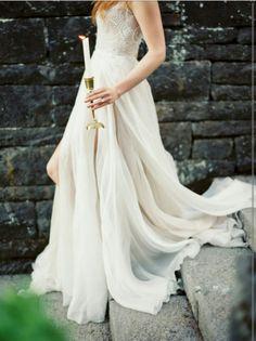 Beaded detail goddess wedding dress