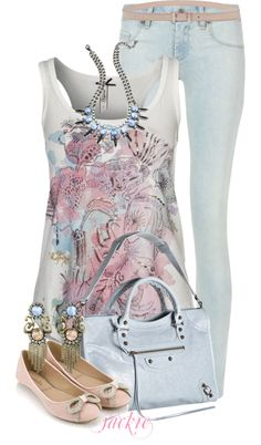 """There's something really sincere and innocent about this outfit. I like it, although I'm not sure if it's very """"me"""". """"Springy"""" by jackie22 on Polyvore"""