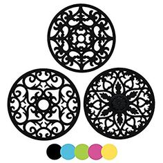 FAN 3 Set Silicone Multi-Use Flower Trivet Mat - Premium Quality Insulated Flexible Durable Non Slip Coasters Hot Pads Blue Kitchen Surface, Silicone Coasters, Essential Kitchen Tools, Condo Kitchen, Kitchen Dining, Kitchen Stuff, Hot Pads, Coaster Set, Kitchen Accessories
