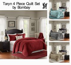 Taryn 4 Piece Quilt Set by Bombay | Home & Garden, Bedding, Quilts, Bedspreads & Coverlets | eBay! #quiltset #quilt #bedding #freeshipping #cool #sale