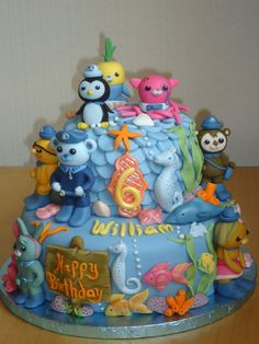 Octonauts Birthday Cake    Chocolate Fudge cake with chocolate ganache and light chocolate mousse filling, then covered with fondant and topped with all edible handmade sugar figures/toppers