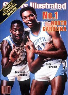 Sam Perkins Michael Jordan UNC Tarheels 1983 Sports Illustrated First Cover I remember this! Unc Sports, Sports Stars, Sports Pics, Sports Images, Basketball Tricks, Love And Basketball, College Basketball, Jordan Basketball, Basketball Players