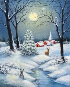 Snow Landscape, Full Moon Landscape Painting, Winter Night Painting, Landscape with Deer and Rabbit, Christmas Scenery, Christmas Landscape, Winter Landscape, Christmas Art, Christmas Night, Winter Christmas Scenes, Canada Landscape, Winter Scene Paintings, Christmas Paintings