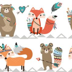 Woodland Fabric Tribal Woodland Creatures By Rocky Rocks Designs Woodland Nursery Decor Cotton Fabric cut to size With Spoonflower Bebek Odası Tribal Fox, Tribal Animals, Rock Design, Woodland Nursery Decor, Woodland Party, Woodland Fabric, Baby Boy Quilts, Easy Quilts, Woodland Animals