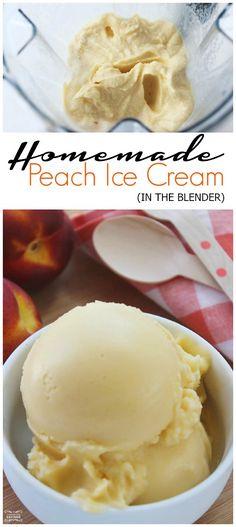 Homemade Peach Ice Cream in the Blender! - Blender - Ideas of Blender - Homemade Peach Ice Cream in the Blender! Peach Ice Cream Recipe, Diy Ice Cream, Dairy Free Ice Cream, Ice Cream Treats, Ice Cream Desserts, Homemade Ice Cream, Frozen Desserts, Ice Cream Recipes, Frozen Treats