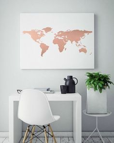 rose-gold-foil-world-map-print-real-foil-print-unique-gift-ideas-genuine-foil-art-abstract-wall-art-teen-room-decor-how-to-rock-it-this-fabulo/ SULTANGAZI SEARCH Teen Room Decor, Room Wall Decor, Bedroom Decor, Bedroom Ideas, Bedroom Colors, Rose Gold Rooms, Rose Gold Decor, Rose Gold Interior, Gold Bedroom