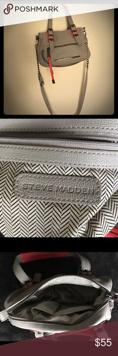Steve Madden cross body purse Beautiful Steve Madden cross body tan and orange purse. Center zip closure, front zip pocket.  Excellent condition. All manmade materials. Steve Madden Bags Crossbody Bags