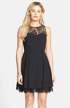 315985e1cf Free shipping and returns on a. drea Lace Trim Illusion Skater Dress ( Juniors)