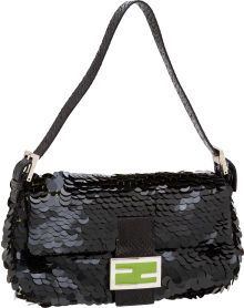Fendi Black Sequin, Snakeskin, and Green Enamel Classic Baguette Bag