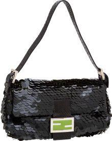 Fendi Black Sequin, Snakeskin, and Green Enamel Classic Baguette Bag
