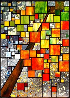 Seasons in 4/4 Time by Josephine A. Geiger, Glass: leaded glass and bevels Modern Stained Glass, Stained Glass Quilt, Faux Stained Glass, Stained Glass Designs, Stained Glass Panels, Stained Glass Projects, Stained Glass Patterns, Leaded Glass, Mosaic Art