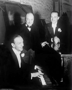 """Fred Astaire, Eric Blore and Erik Rhodes on the set of """"Top Hat"""" (1935) I love these three guys!"""