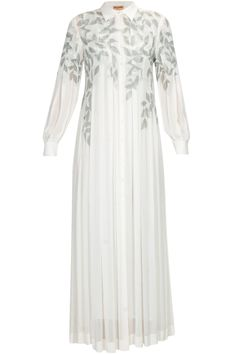 Off white leaves thread embroidered long shirt dress available only at Pernia's Pop Up Shop.