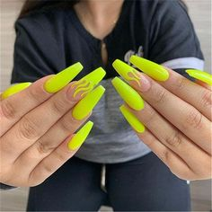 Trendy Yellow Nail Art Designs To Make You Stunning In Summer;Acrylic Or Gel Nails; French Or Coffin Nails; Matte Or Glitter Nails; Neon Acrylic Nails, Neon Yellow Nails, Yellow Nails Design, Yellow Nail Art, Neon Nails, Lime Green Nails, Neon Nail Art, Colourful Acrylic Nails, Black Nails