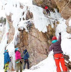 Ines Papert guiding traffic at Ouray Ice Park.