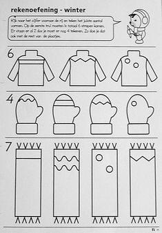 Werkblad : Kijk naar het cijfer vooraan de rij en teken het juiste aantal vormen.